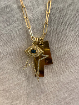 DIAMOND EVIL EYE CHARM WITH SAPPHIRE EYE