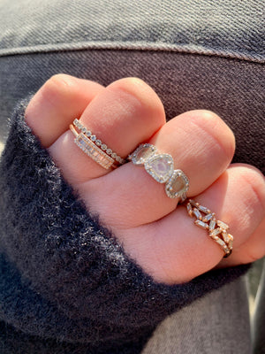 14K GOLD AND DIAMOND STACKING RINGS