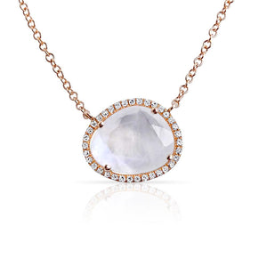 ROSE GOLD MOONSTONE PENDANT NECKLACE WITH PAVÉ DIAMOND SURROUND
