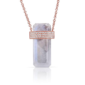 14K ROSE GOLD MOONSTONE CRYSTAL NECKLACE WITH TRIPLE DIAMOND BAND