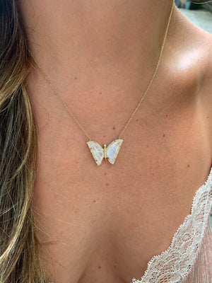 DIAMOND AND MOONSTONE BUTTERFLY PENDANT