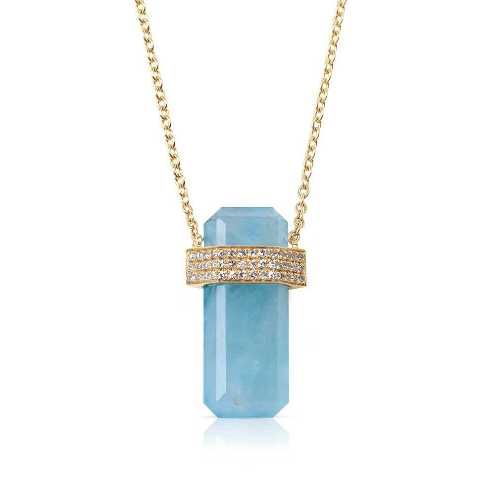 Aquamarine Diamond Crystal Necklace