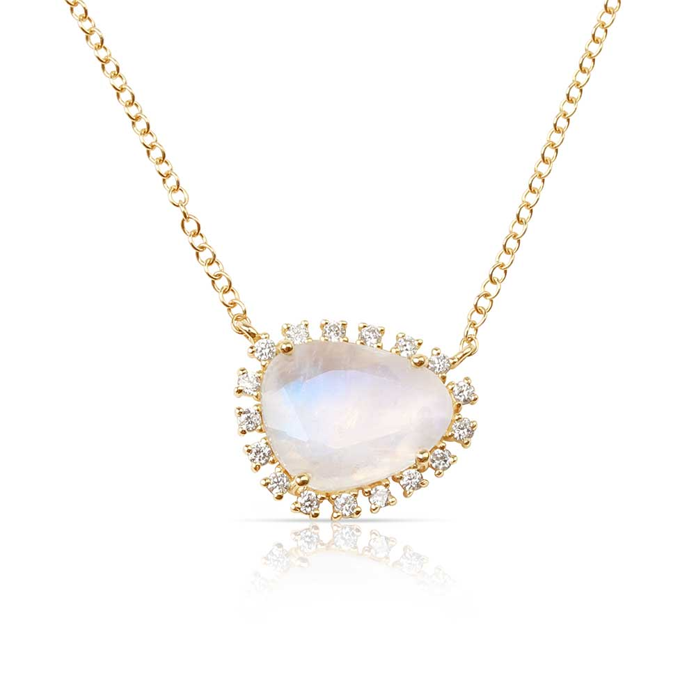 IN STOCK - ROSE GOLD MOONSTONE NECKLACE WITH FLOATING DIAMONDS