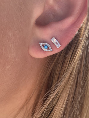 IN STOCK - DIAMOND EVIL EYE EARRINGS WITH TURQUOISE