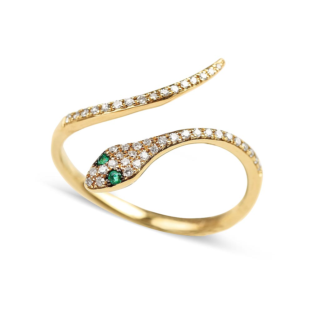 DIAMOND SNAKE RING WITH EMERALD EYES