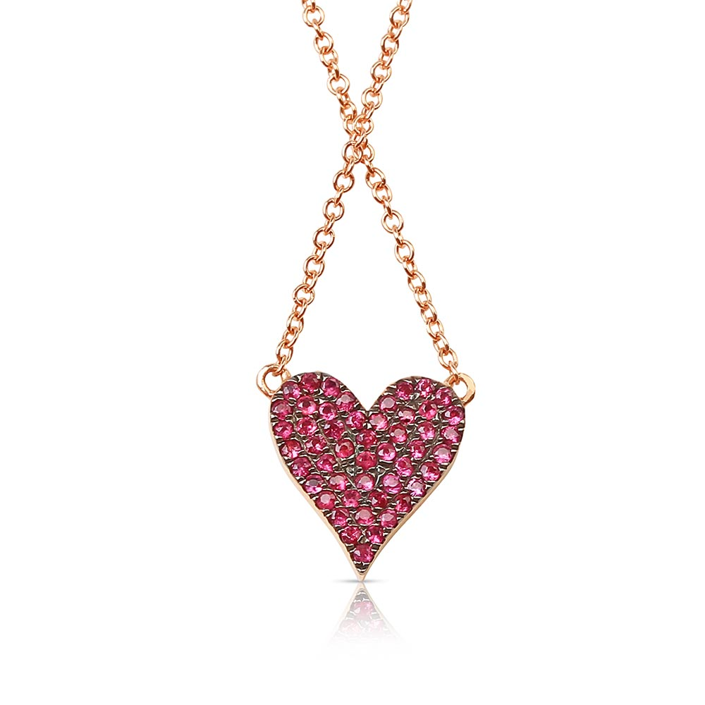 REVERSIBLE RUBY HEART NECKLACE