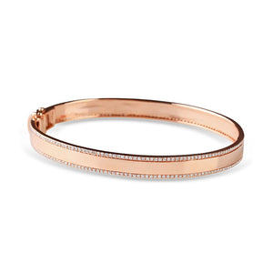 solid gold cigar band bangle with diamond edge