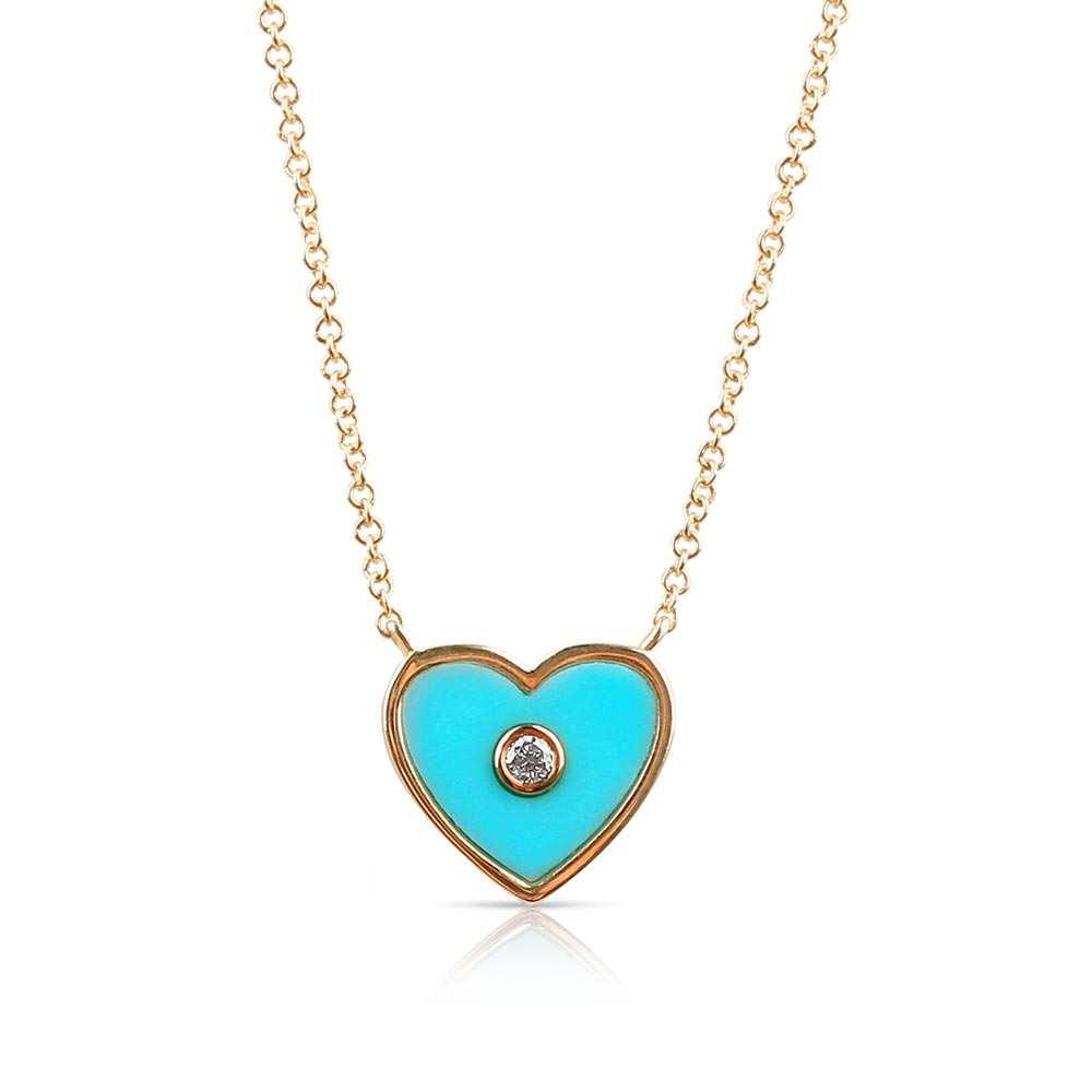blue enamel heart necklace with diamond centre
