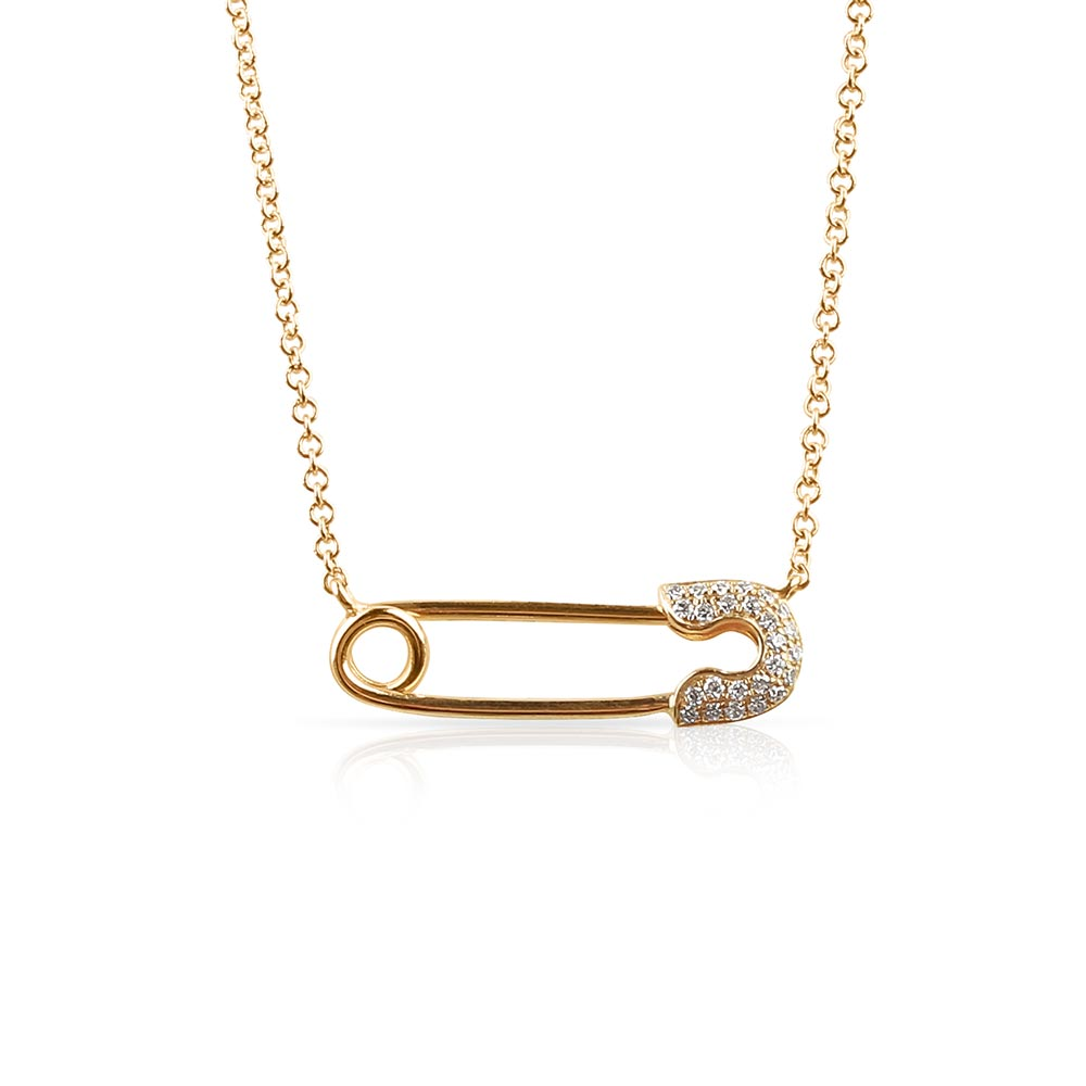 IN STOCK - DIAMOND SAFETY PIN NECKLACE