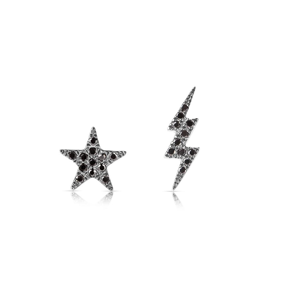 black diamond star and lightning bolt earrings