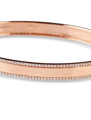 diamond edged solid gold cigar band bangle