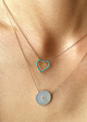 IN STOCK - TURQUOISE HEART NECKLACE