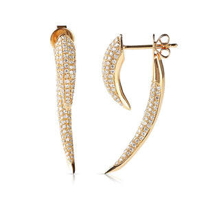 Large Gold and Diamond Horn Earrings
