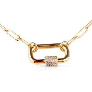 Diamond and Gold Carabiner Lock Necklace