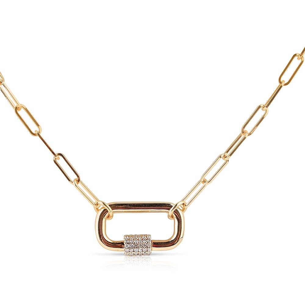 Solid Gold Paperclip Chain with Loop