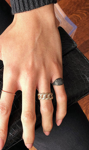 BLACK DIAMOND CUSHION SIGNET RING