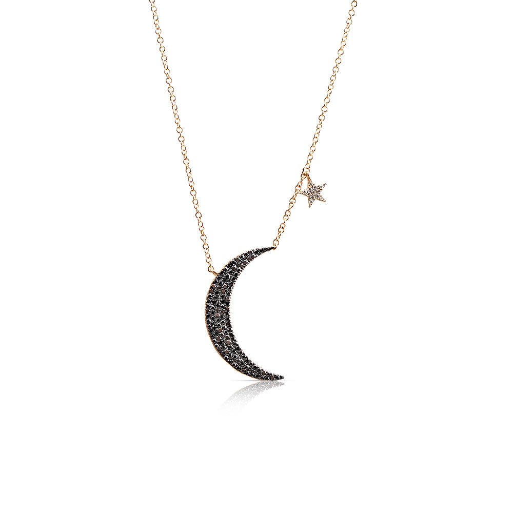 IN STOCK - YELLOW GOLD MEDIUM BLACK DIAMOND MOON AND STAR NECKLACE