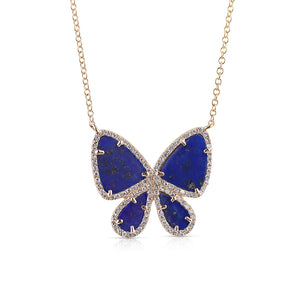 LAPIS LAZULI AND DIAMOND BUTTERFLY NECKLACE