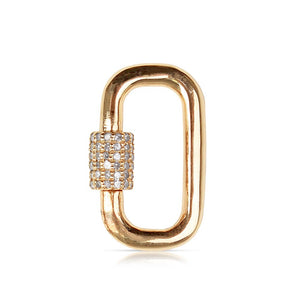 Solid Gold Carabiner lock with diamonds
