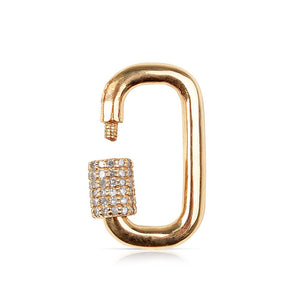 Solid Gold Carabiner Lock with Pave Diamond Closure