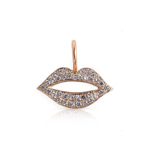Rose Gold Diamond Lips Charm
