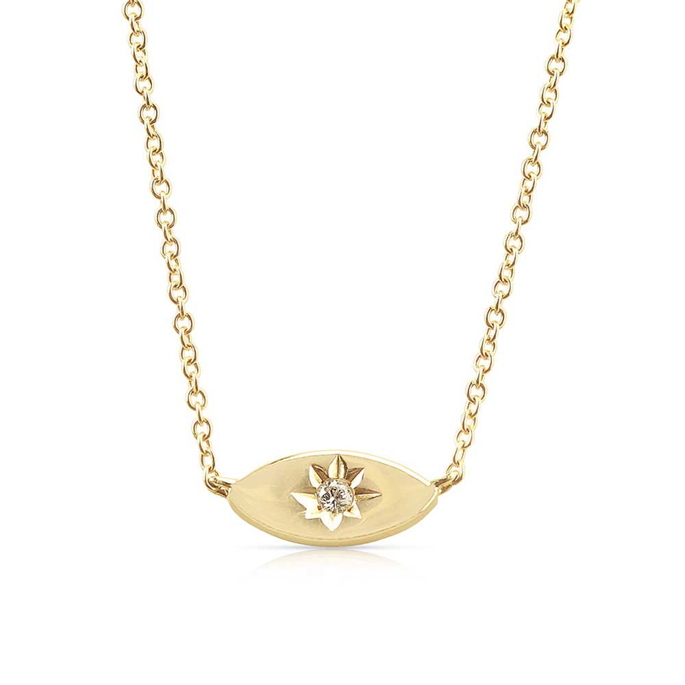 Mini Gold Evil Eye Necklace with Diamond Centre