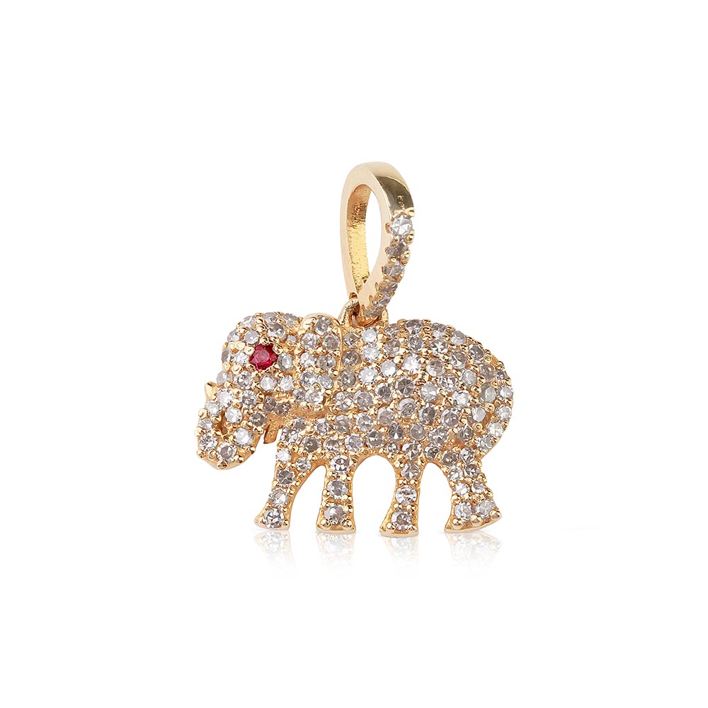 MINI DIAMOND AND RUBY ELEPHANT CHARM