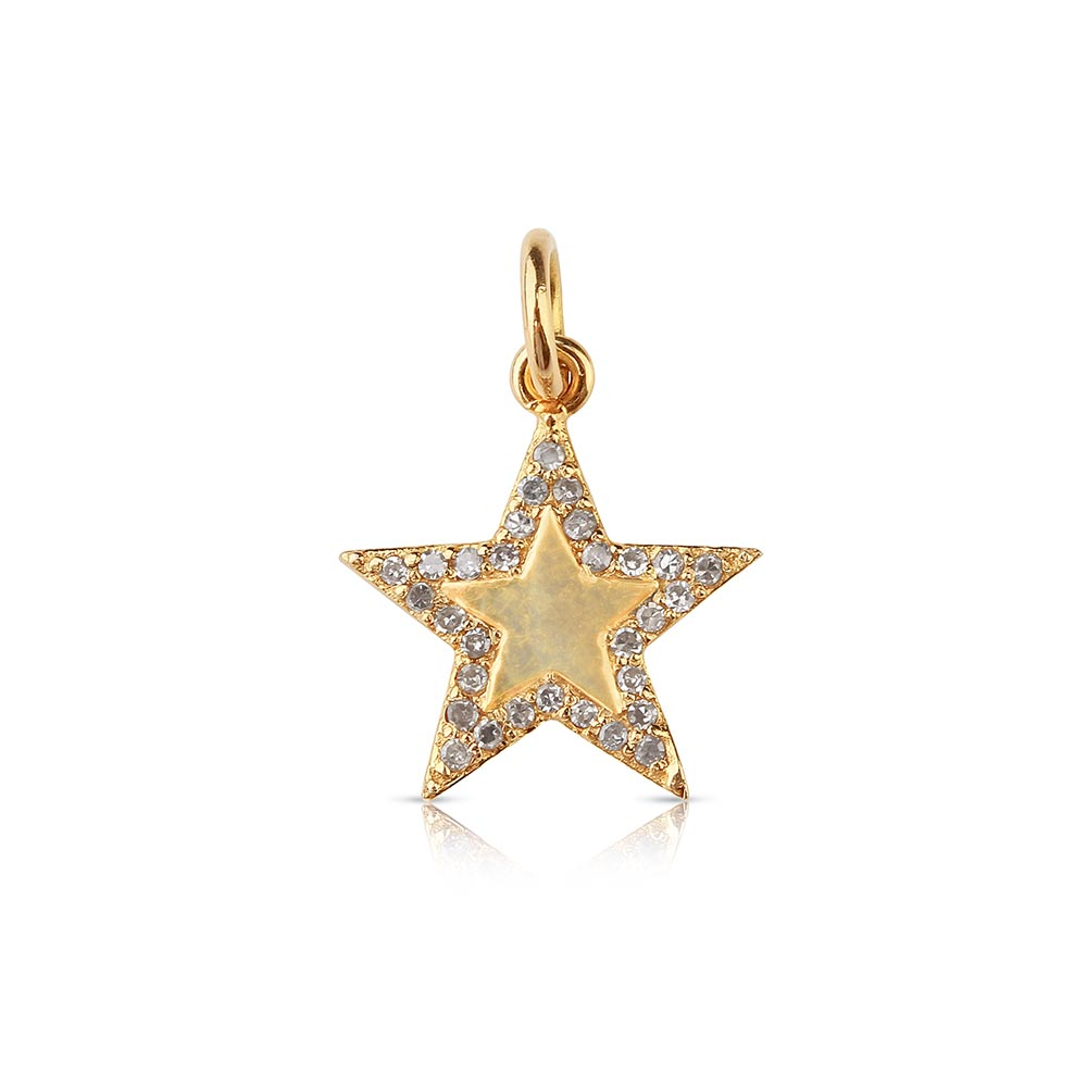 Mini Star Charm with Diamond Border