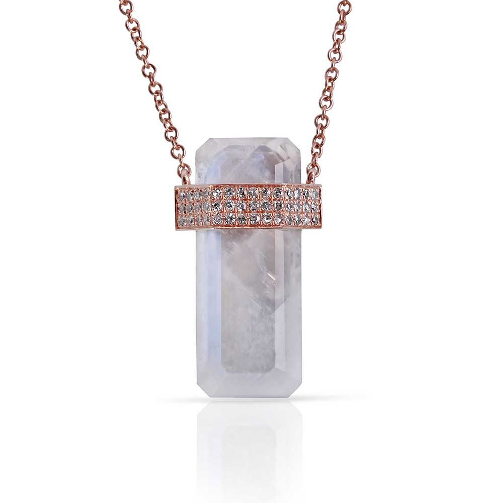 IN STOCK - MOONSTONE CRYSTAL NECKLACE WITH 3 BAND PAVÉ