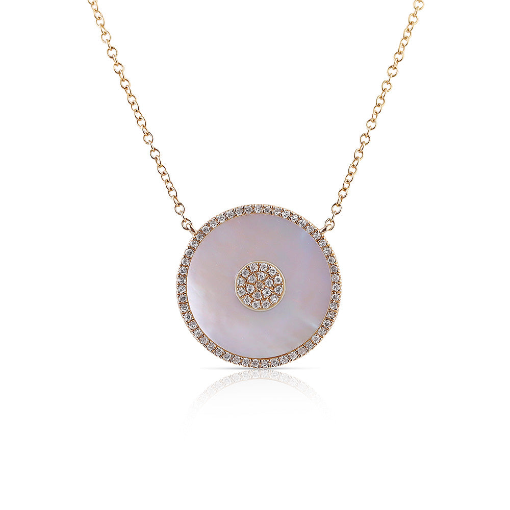 MOTHER OF PEARL AND DIAMOND BULLSEYE NECKLACE