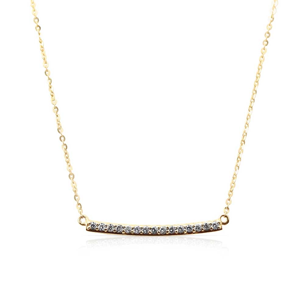 HORIZONTAL CURVED DIAMOND BAR NECKLACE