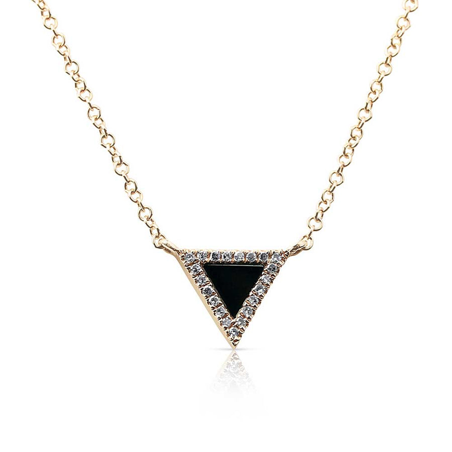 TRIANGLE ONYX NECKLACE WITH PAVÉ SURROUND