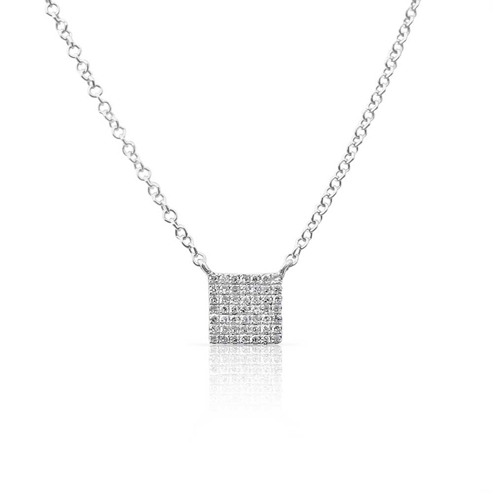 SQUARE DIAMOND PAVÉ PENDANT
