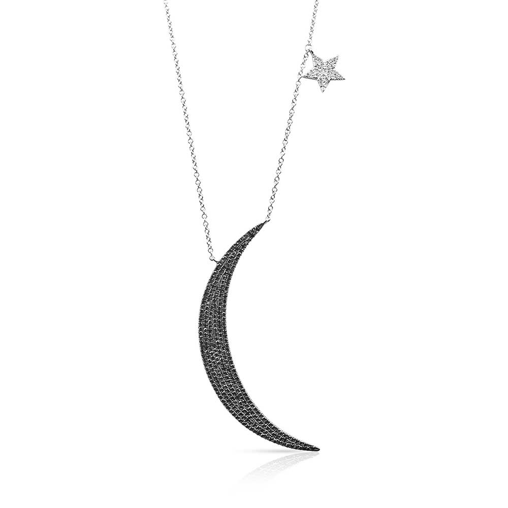 IN STOCK - DEMI LARGE DIAMOND MOON AND STAR NECKLACE
