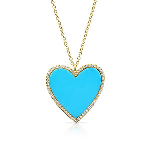 14K GOLD TURQUOISE AND DIAMOND HEART NECKLACE