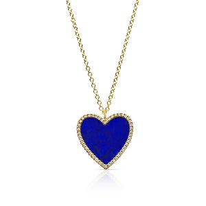 LAPIS LAZULI AND DIAMOND HEART NECKLACE