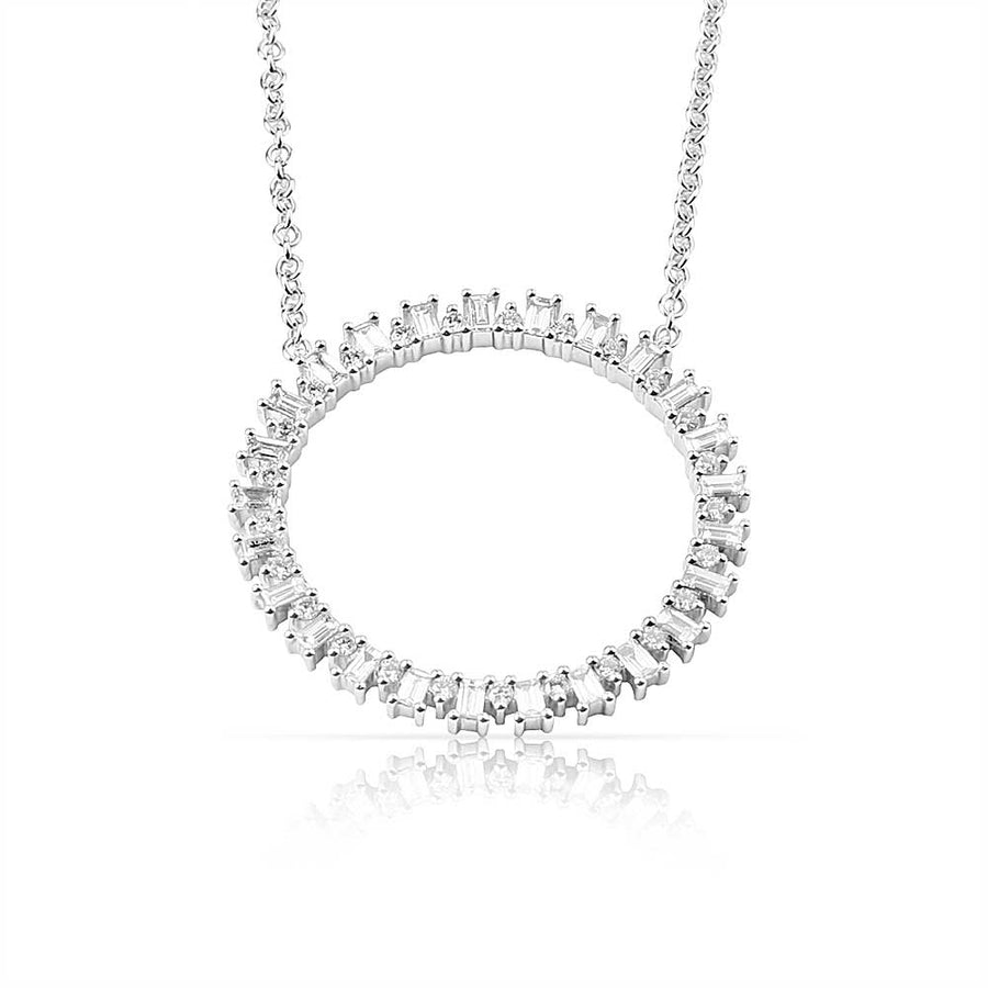 LARGE ROUND BAGUETTE DIAMOND NECKLACE