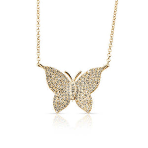 14k Gold and Diamond Butterfly Necklace