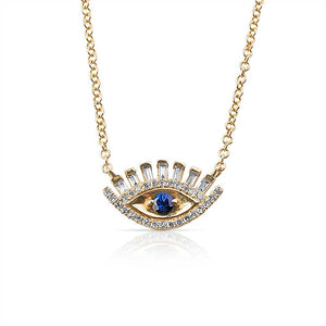 Baguette Diamond Evil Eye Necklace