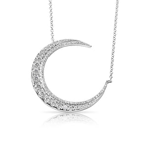 14K GOLD GRADUATED DIAMOND CRESCENT MOON NECKLACE