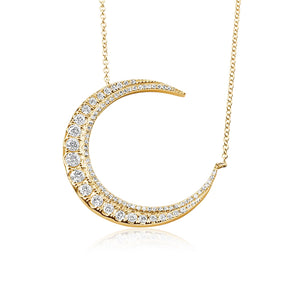 GRADUATED DIAMOND CRESCENT MOON NECKLACE