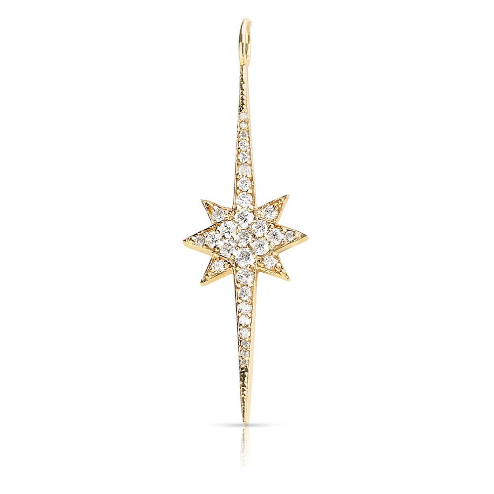 14K GOLD DIAMOND STARBURST CHARM