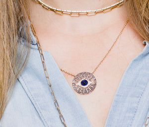 IN STOCK - DIAMOND AND SAPPHIRE EVIL EYE CUTOUT MEDALLION NECKLACE