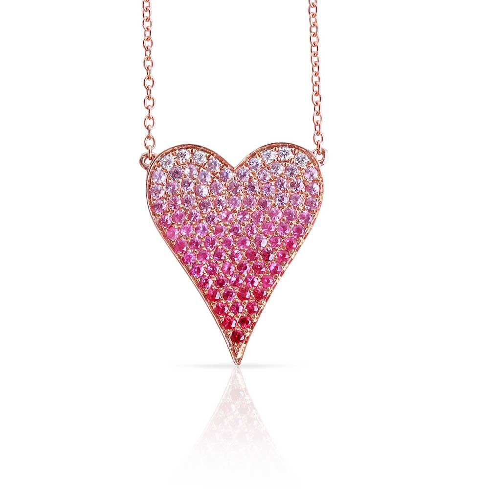 Pink Sapphire Ombre Heart Necklace