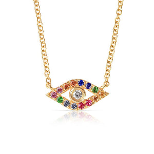 SAPPHIRE AND DIAMOND RAINBOW EVIL EYE