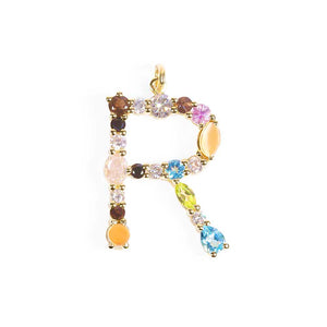 MIXED GEMSTONE LETTER CHARM