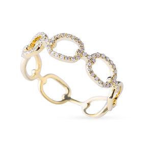 14K GOLD PAVÉ DIAMOND OPEN CHAIN LINK RING