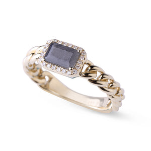 14K Gold Labradorite and Pavé Diamond Chain Link Ring
