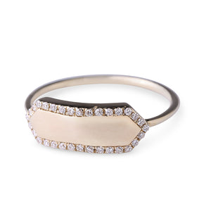 14K Gold Nameplate Ring with Pavé Diamond Edging