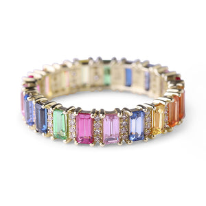 RAINBOW SAPPHIRE EMERALD CUT WITH DIAMOND ETERNITY BAND